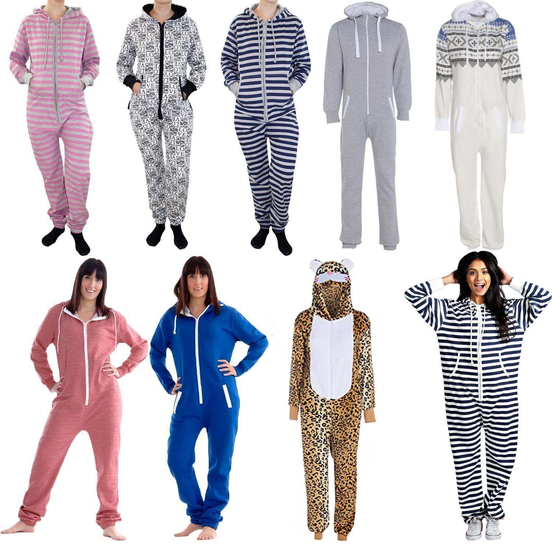 New Unisex Men Women Plain Print Stripe Hooded Aztec All In One Jumpsuits