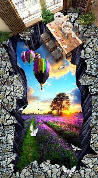 3D palloncino fiore Pavimento Foto Wallpaper Murales Muro Stampa Decalcomania