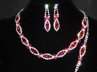 3pc Red Ruby Rhinestones Including Necklace, Earrings And Bracelet Bridal Set