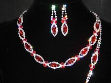 3PC Red Ruby & Clear Rhinestones Choker Necklace, Earrings & Bracelet Bridal Set