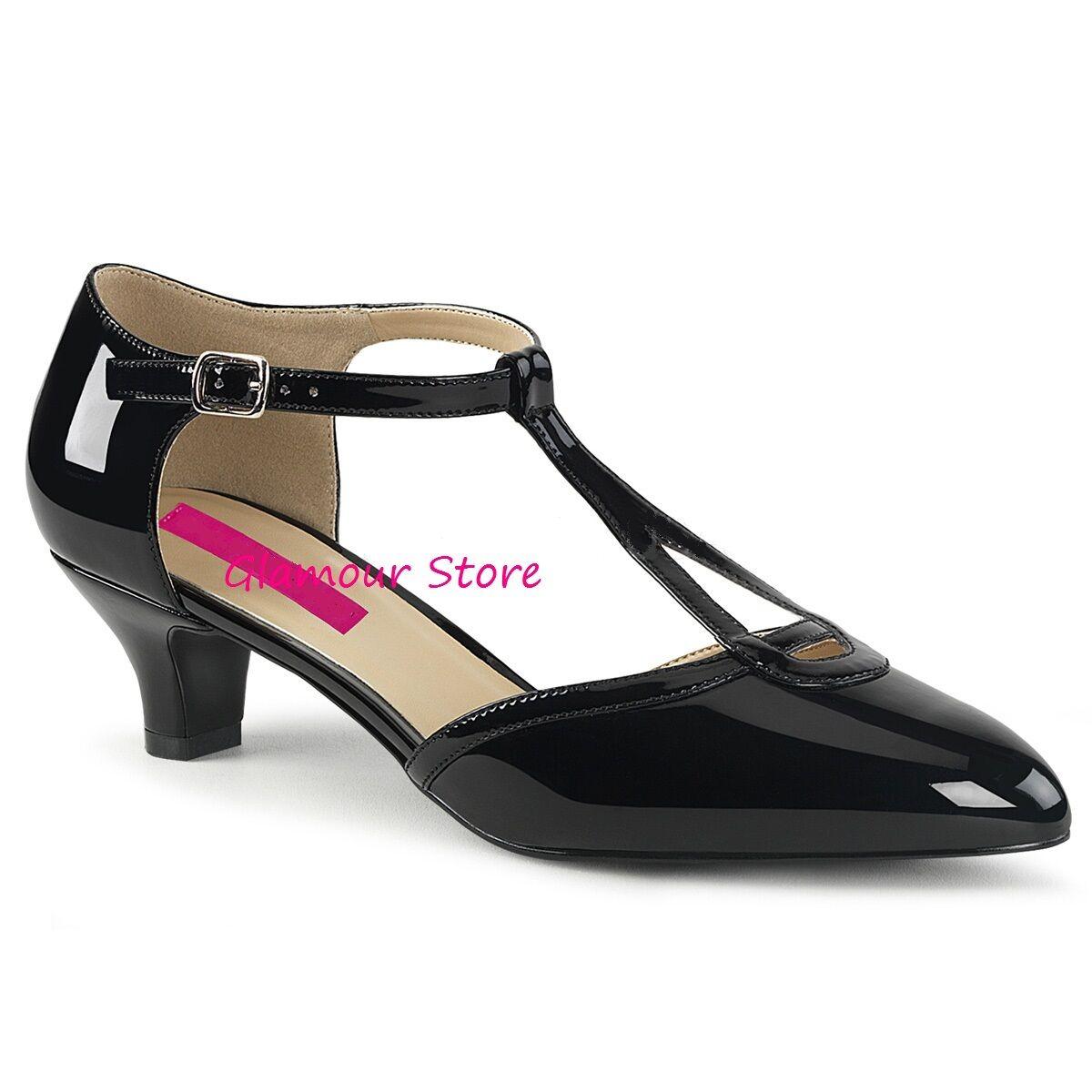 Sexy DECOLTE' tacco 5 cm al NERO LUCIDO dal 39 al cm 46 cinturino scarpe GLAMOUR chic 648e4e