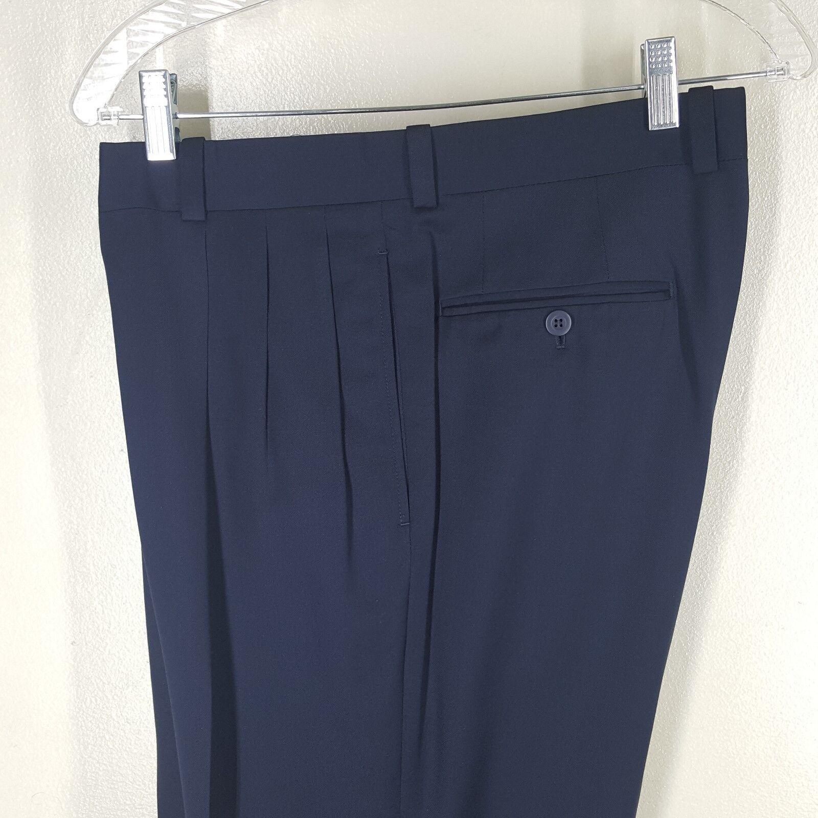 BERNARD ZINS Multi Pleated bluee Dress Pants Super 100''S Wool 35   X 31   Cuffed