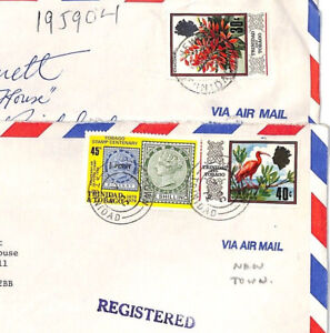 Bt253 1979 Trinidad & Tobago * New Town * Registered Commercial Air Mail Couvre {2}