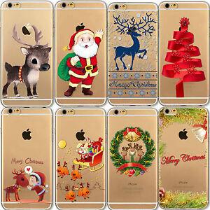 Christmas Tree Reindeer Santa Clear Phone Case iPhone 8 Plus 7 X 6 6S SE 5S 5
