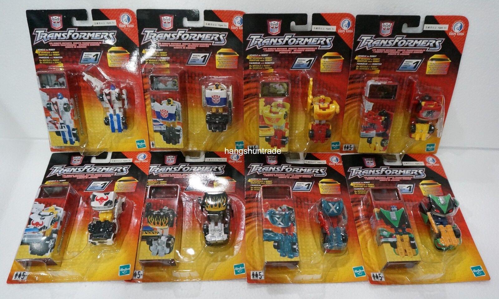 Hasbro Transformers pequeño latas transversal Sideswipe Mirage Ironhide Hot Shot 8 piezas