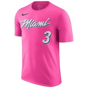 various colors 6fc13 ba673 Details about New Nike Dwyane Wade Miami Heat NBA Earned Edition Name &  Number Player T-Shirt