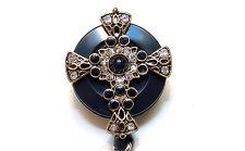 Retractable ID badge holder reel - Black Accent Graceful Cross