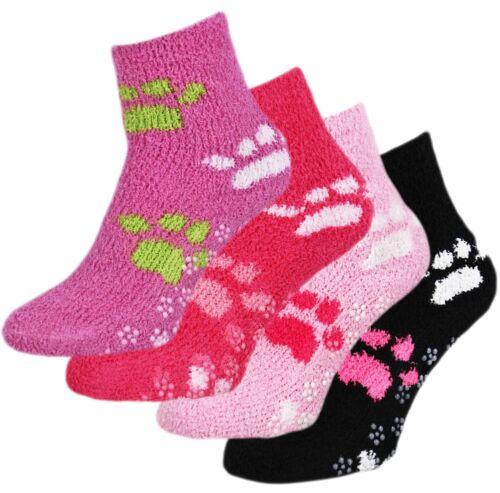 LADIES Soft Comfort Fleece Paw Bed Lounge Grip Sole Slipper Socks One Size