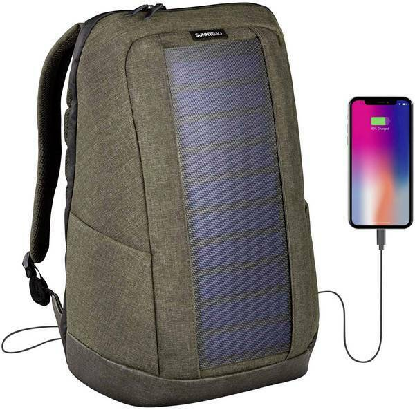 SUNNYBAG ICONIC solar backpack in olive brown, Charge all Smart phones