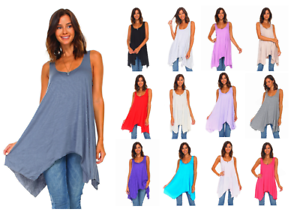 Women-039-s-Sleeveless-Loose-Fit-Flare-Flowy-Swing-Tunic-Top-Dress-S-3X-Made-in-USA