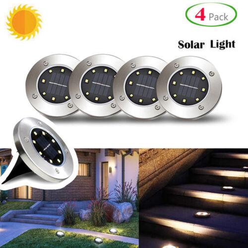 1-4x Solar Bodeneinbaustrahler Außen Garten 16LED Wasserdicht Lampe Solarleuchte