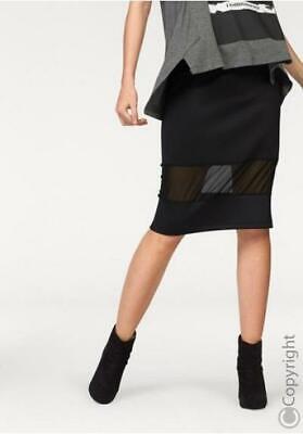 MiNi Rock schwarz mit Spitzen Einsatz /& Metall Ringen New Tomline Design 34-42