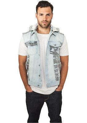 Urban Classics Giacca Giubbotto Gilet Jeans Uomo Hooded Camo Denim Vest Prevenire I Capelli Da Ingrigire E Utile Per Mantenere La Carnagione
