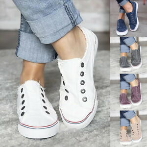 Womens-Slip-On-Canvas-Flat-Trainers-Ladies-Loafers-Plimsolls-Pumps-Casual-Shoes
