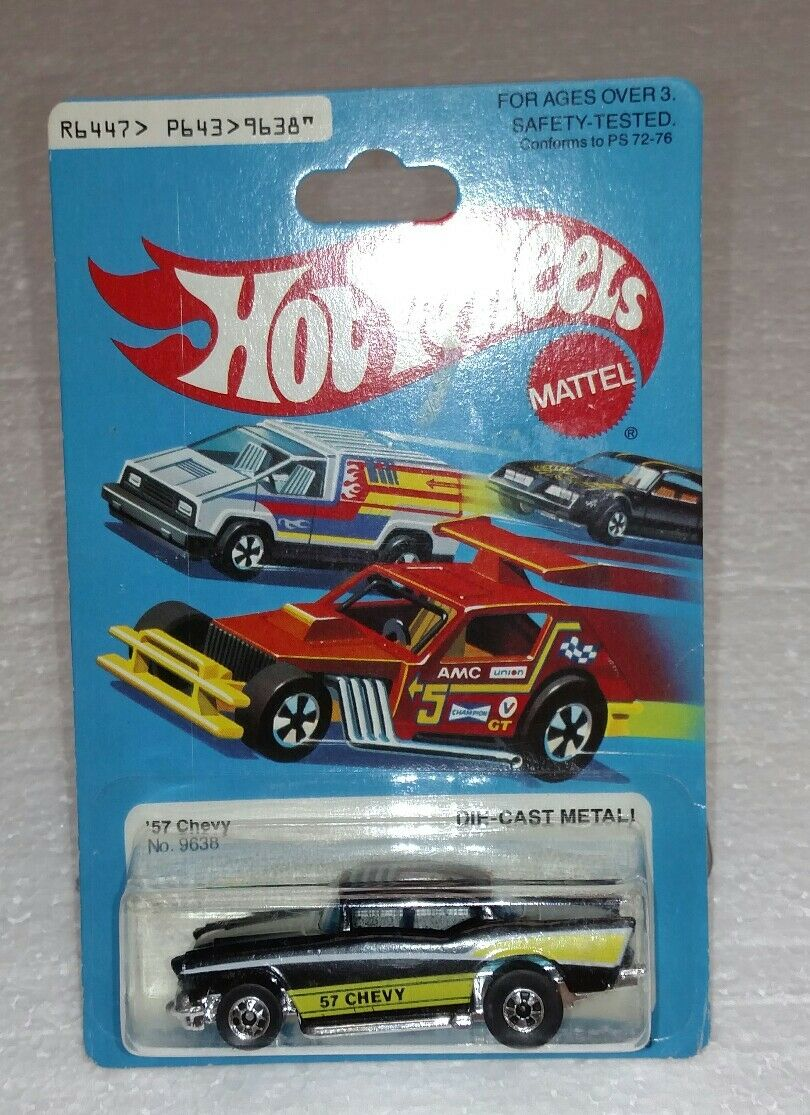 Hot Wheels 57 Chevy negro con amarillo nuevo Hong Kong mi