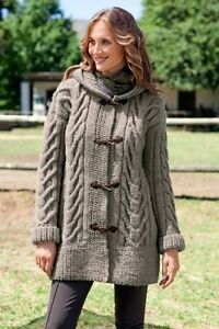 Chunky Ladies Cable Duffle Coat With Hood  S//XL Sizes   Knitting Pattern