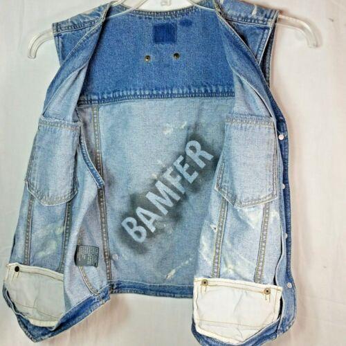 Tattooed Wear Liz Brystlomme Trucker Claiborne Biker Denim Vest Distressed wFXX4qdz