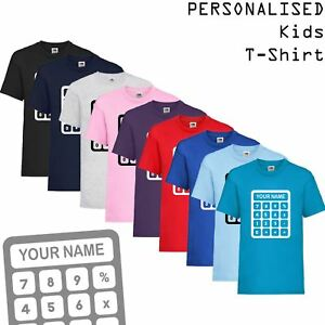 995c5aca3cc00 Details about Kids Personalised Custom Name Print Novelty T-Shirt School  Maths Day Calculator