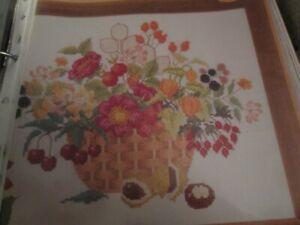 """""""automne Floral Panier"""" Floral Cross Stitch Chart Only-afficher Le Titre D'origine ExtrêMement Efficace Pour Conserver La Chaleur"""