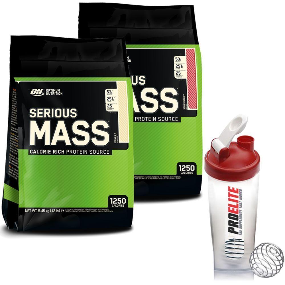 Optimum Nutrition Serious Mass 12lb Bag / 5.4kg Bag 12lb x 2 = 10.8kg Weight Gainer + Sha edd936