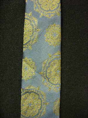 Caritatevole Vintage 1950's -1960's Superba Etichetta Blu Grigio Cravatta Con Disegni In Vendita