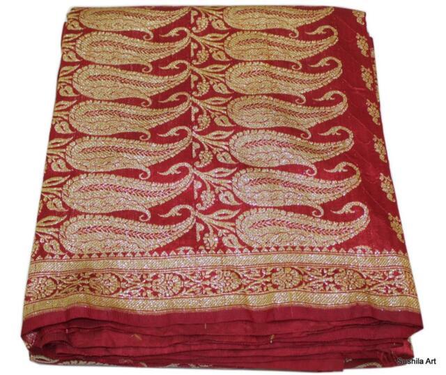 Vintage Sari Indian Art Silk Woven Zari Brocade Banarasi Saree Fabric Maroon