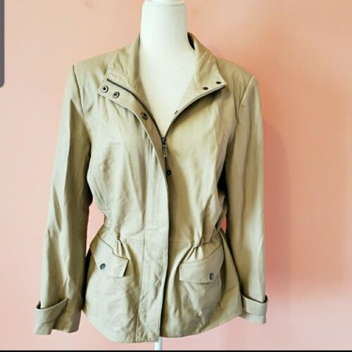 Brooks Brothers Leather Bomber Taupe Jacket Size 14 MSRP $798