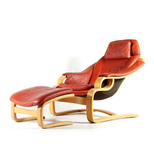1-of-2-Retro-Vintage-Danish-Skippers-Leather-Chair-Armchair-Footstool-Ottoman