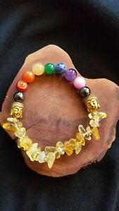 SUPER CHARGED Chakra Stones Citrine Chip Bracelet Gold Plate Buddha beads REIKI!