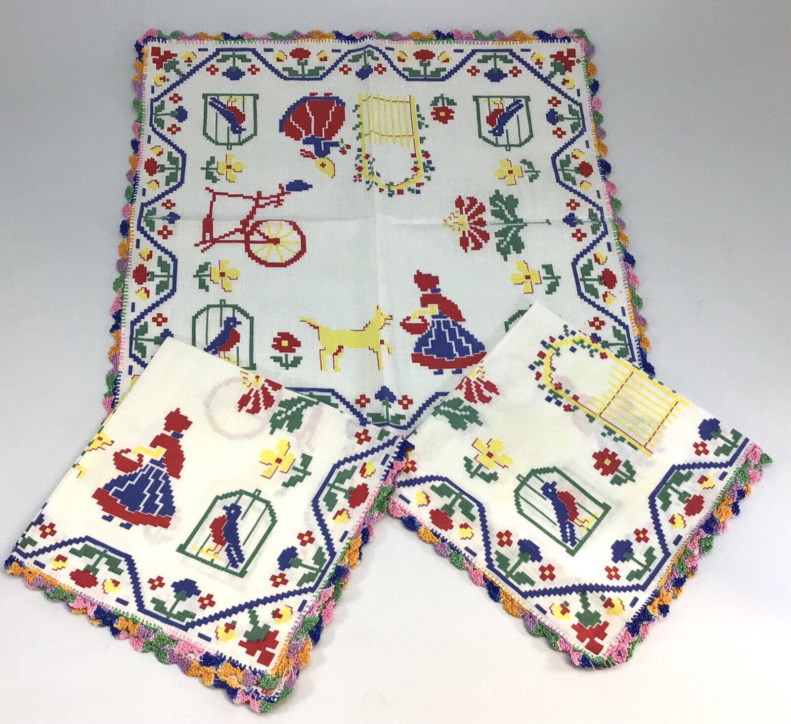 Lot of 3 Vtg Crochet Lace Handkerchiefs Red Ridinghood Craft