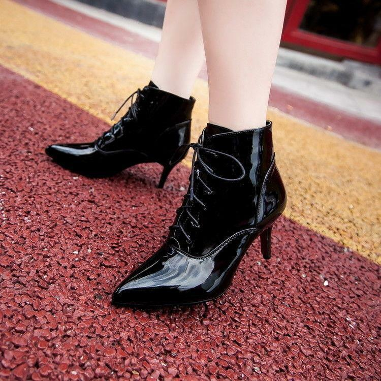 Lace Up Ankle Boots Womens Patent Leather Stiletto Heels Pointed