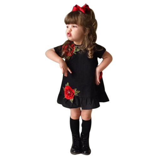 Pretty Skirt Toddler Kids Clothes Girl Rose Floral Pageant Princess Party Dress