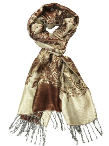 Brown Calvia Double Layered Jacquard Big Paisley Pashmina Shawl Wrap Scarf