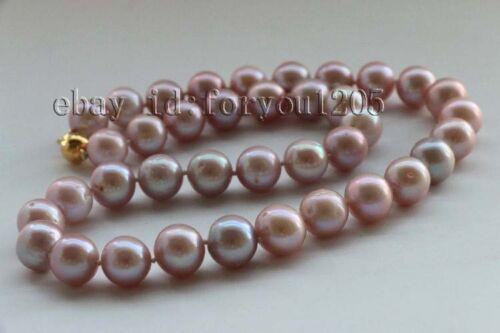 """18/"""" Genine 12 mm Naturel Rond Lavande collier de perles 18kgp #f2569!"""