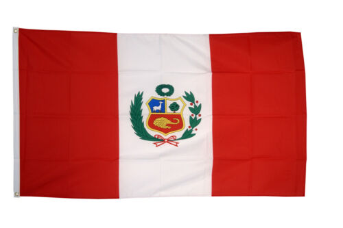 Peru National Country Crest Flag 100/% Polyester With Eyelets 3 x 2/' New