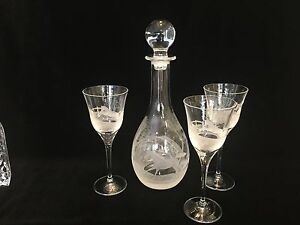 Hungarian-SPC-2001-SP-Collection-Hand-Engraved-Crystal-Decanter-w-3-Goblets