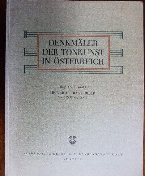 Violín Der Biber 8 Sonatas [ 1681 ] denkmaler Der Violín tonkunst en Oesterreich V2 / 11 fadeea
