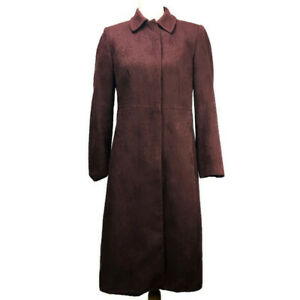 J-Crew-Women-039-s-Trench-Coat-Jacket-Maroon-Textured-Cotton-Stain-Lined-Size-6