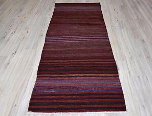 0.9x2.4m Vintage Turc Tribal Tissé à La Main Rouge Noir Bleu Rayé Kilim Couloir