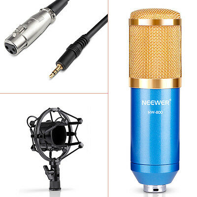 Neewer NW800 Blue Studio Condenser Microphone with Shock Mount and Wind Shield