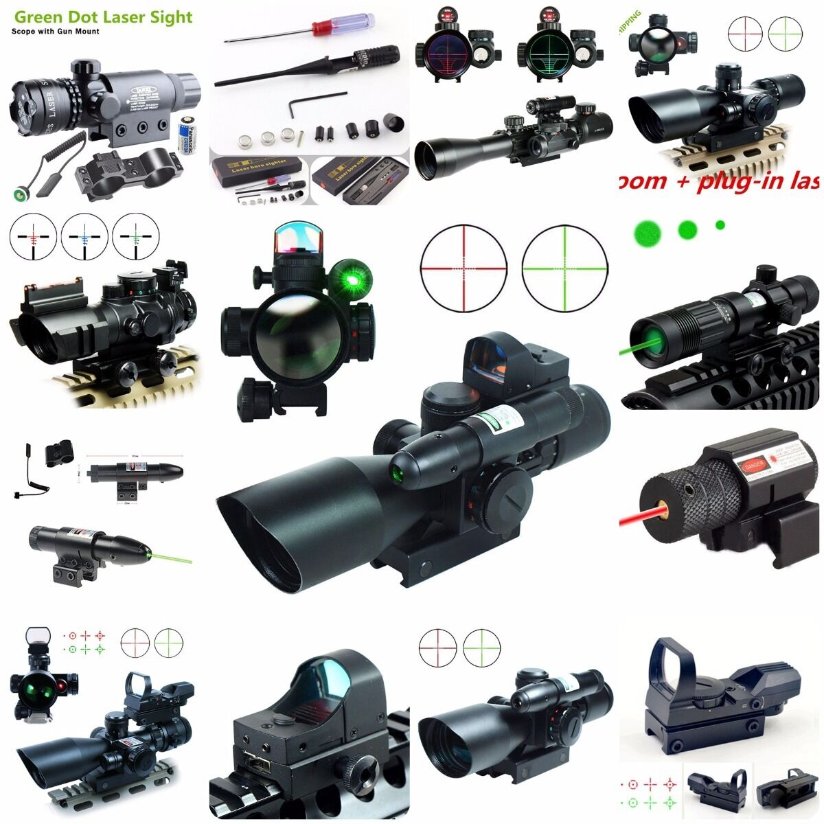 Tactical 2.5-10X40 ROT Dot Sight w/ Rifle Scope w/ Sight Grün Laser & Mini Reflex 3 MOA 4af879