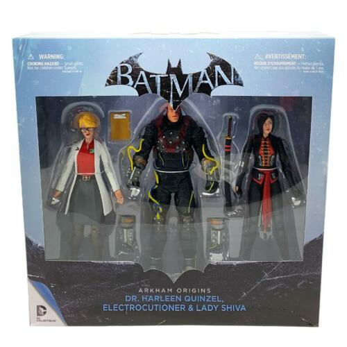 DC COMICS BATMAN ARKHAM ORIGINS HARLEEN ELECTROCUTIONER /& SHIVA 3PK FIGURE SET