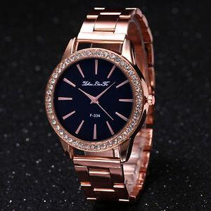 Frauen-Luxus-Strass-Edelstahl-Armbanduhr-Geschenk-Analog-Quarz