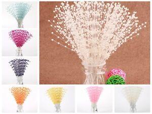 20-Bunch-Pearl-Flower-Stem-Beads-Garland-Sprays-Bridal-Bouquet-Wedding-Party