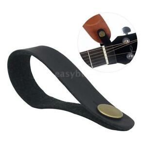Guitar Strap Tie Button Headstock Neck Wrap Faux Leather for Acoustic Banjo etc