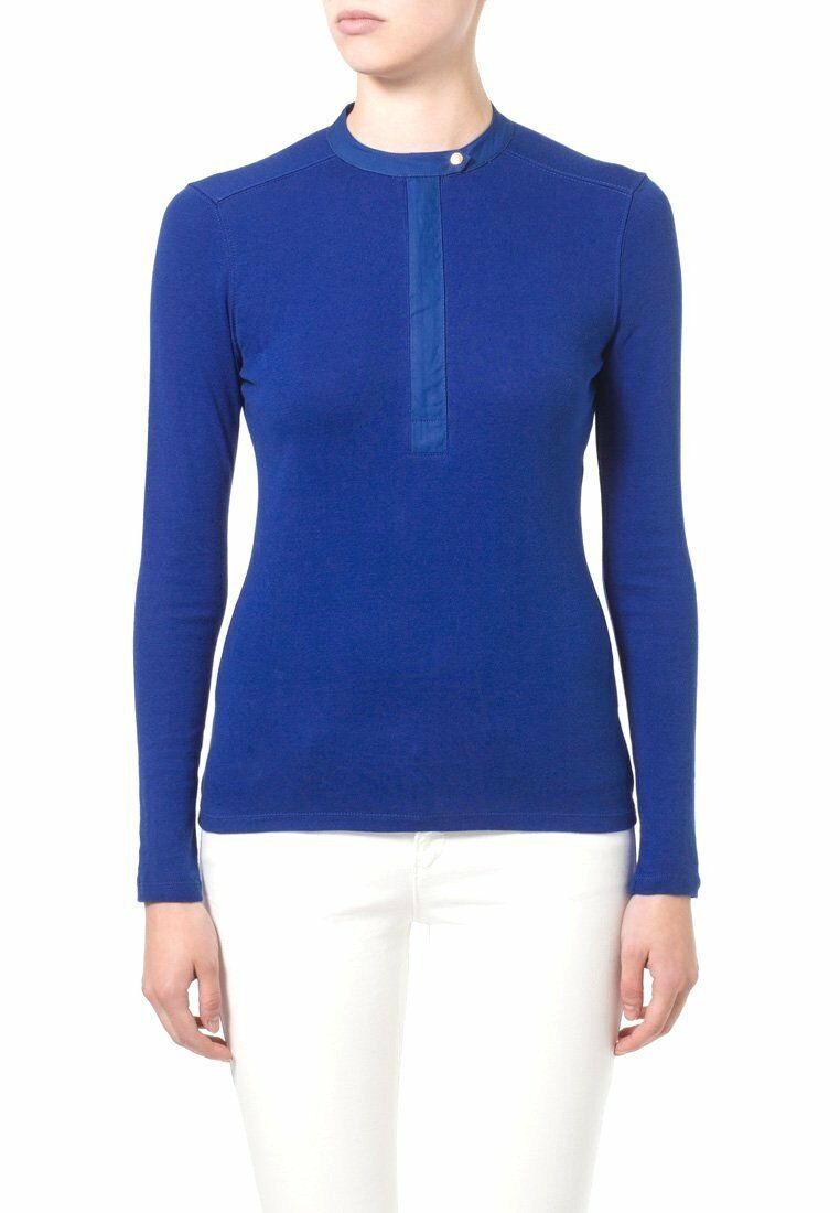NWT Ralph Lauren Stretch Sail bluee Long-sleeve half zip cotton top MSRP