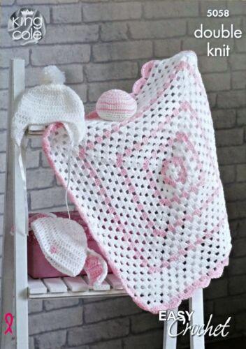 Baby CROCHET PATTERN Easy Crochet Baby Blanket Bunny Hat Helmet /& Ball DK 5058