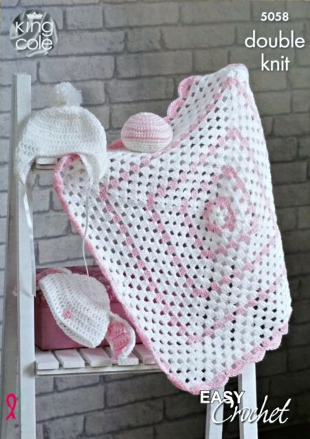 King Cole 5058 Dk Easy Crochet Pattern Baby Blanket Hat Ball For