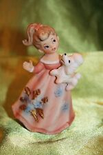 Vintage Lefton Girl in Peach Dress,White Poodle,4 in tall, Bisque Figurine