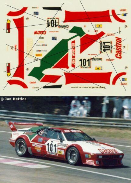 Logique Decal Transkit Graphyland 1/43 Bmw M1 Castrol #101 Le Mans 1984 Ref 012